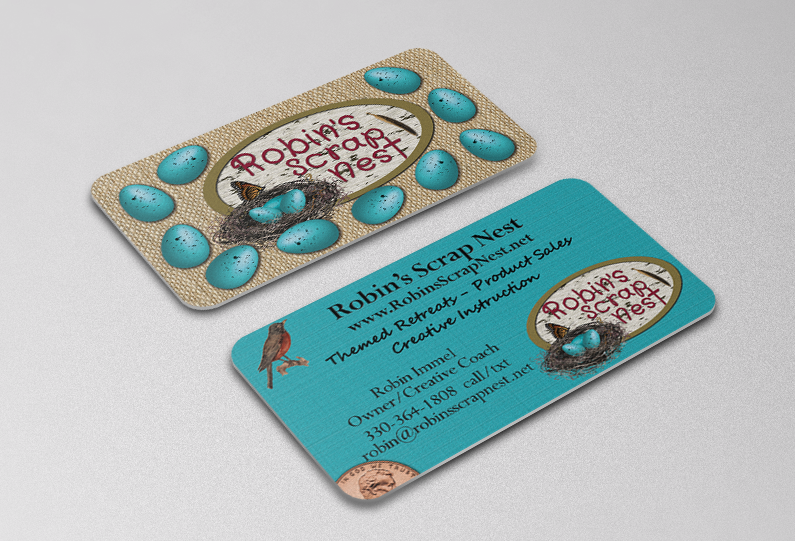 This client does a lot of mail order sales as well as in-person sales. She wanted a great looking card to include in her packages that could double as a customer loyalty card for those local sales.