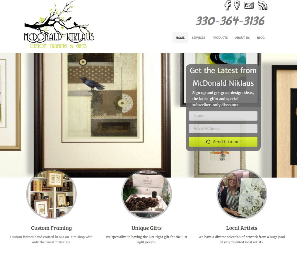 This website for a local framer mimics some aspects of framing while maintaining a clean, low-key appearance that puts the focus where it should be, on their artwork.